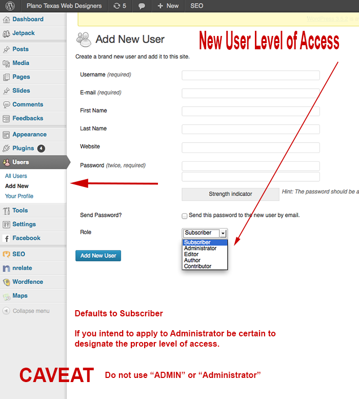 Word Press Tutorial New User Access Level