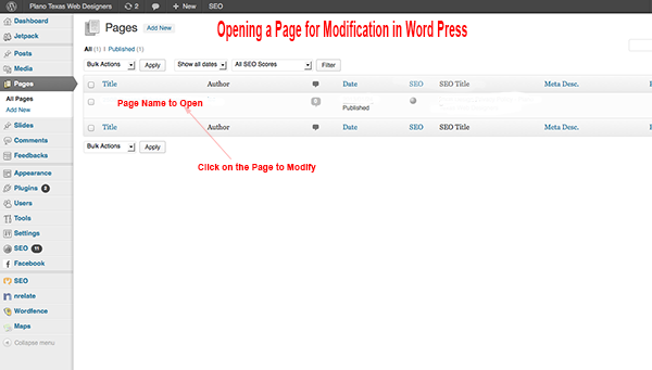 Change a Page in WordPress