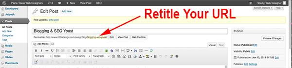 wordpress retitle url